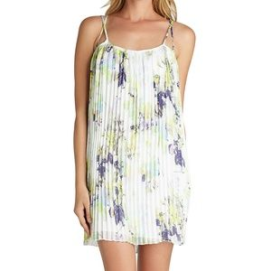 BCBG Strappy White Pleated Purple Floral Dress S